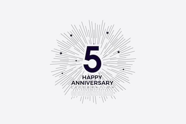 5º aniversário com números e linhas que lembram o símbolo do sol.