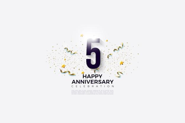 5º aniversário com números e uma festa festiva por trás disso.