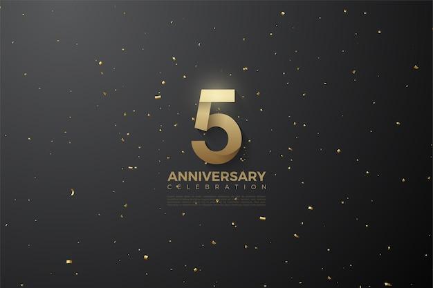5º aniversário com números padronizados e ilustração de fundo no espaço sideral