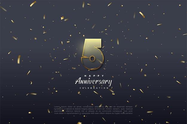5º aniversário com números transparentes e guarnição em castanho dourado.