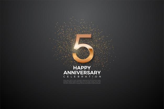 5º aniversário com um número dourado brilhante e brilhante no meio.