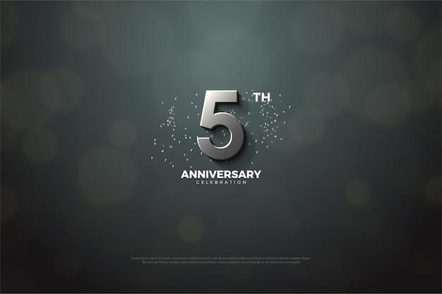 5º aniversário usando números de prata.