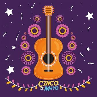5 de maio cartão de celebração com guitarra