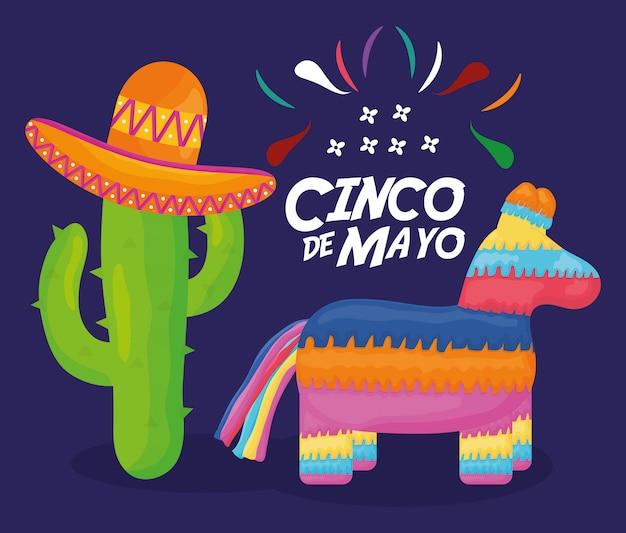 5 de maio celebração com pinata e mexicano