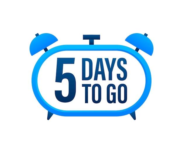 5 dias para ir. temporizador de contagem regressiva. ícone do relógio. ícone de tempo. venda de tempo de contagem. ilustração em vetor das ações.