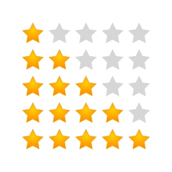 5 estrelas de classificação de ícone de vetor voto como símbolo de classificação