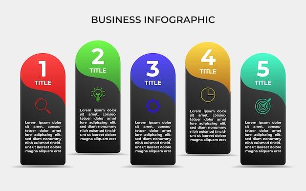 5 etapas do elemento do modelo de infográfico de negócios