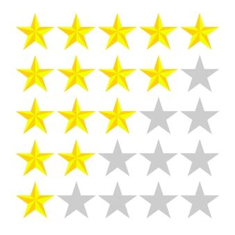 5 fileiras com estrelas de números diferentes de amarelo no branco.