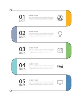 5 guia de infográficos de dados modelo de índice de linha fina. abstrato de ilustração vetorial. pode ser usado para layout de fluxo de trabalho, etapa de negócios, banner, design de web.