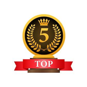 5 melhores rótulos. ícone de coroa de louros dourada. ilustração em vetor das ações.