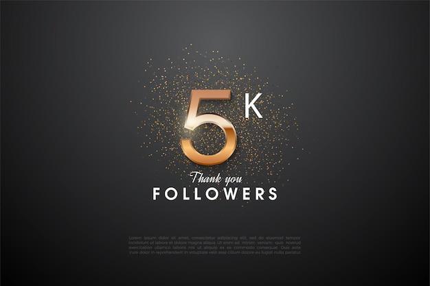 5 mil seguidores com uma ilustração de número brilhante