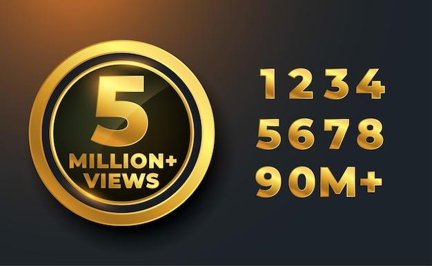 5 milhões ou 5 milhões de visualizações design do emblema da etiqueta dourada