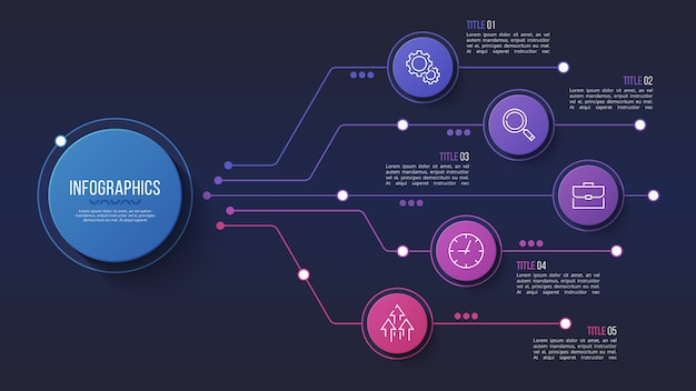 5 opções de design infográfico, gráfico de estrutura, apresentações