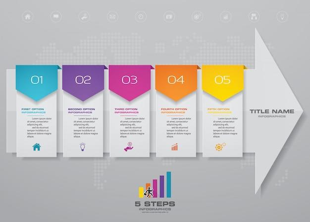 5 passos infográficos elemento seta modelo gráfico.