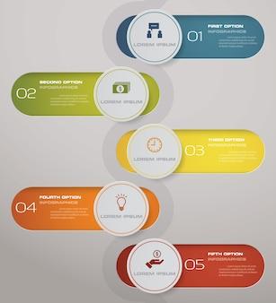 5 passos processo elemento de design abstrato.
