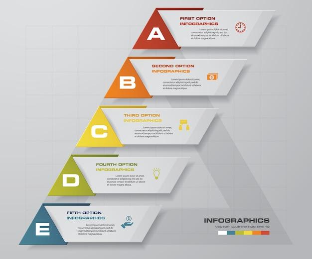 5 passos simples e editável elemento de design abstrato.