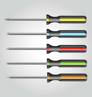5 tipos de chaves de fenda realistas de cores diferentes feitas em vetores
