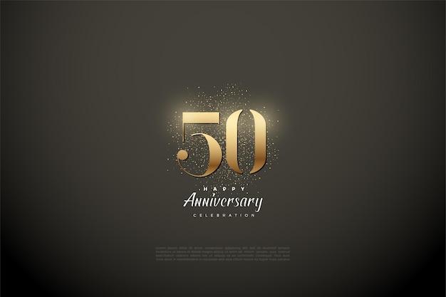 50º aniversário com dígitos de ouro e glitter