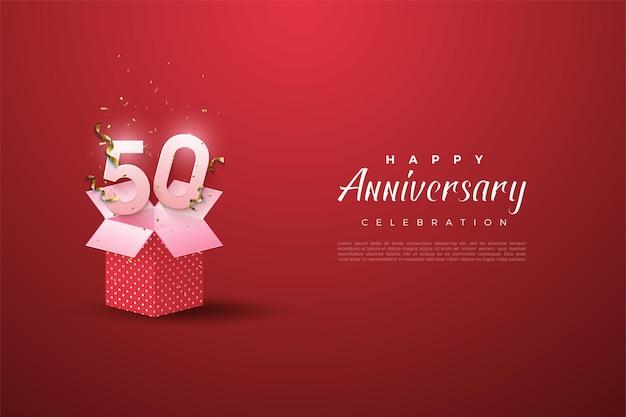 50º aniversário com números de caixa de presente abertos e ilustração