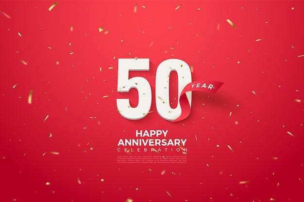50º aniversário com números e fita vermelha
