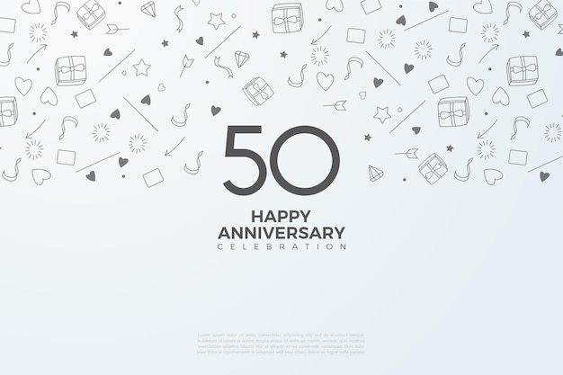 50º aniversário com um pequeno fundo ilustrado