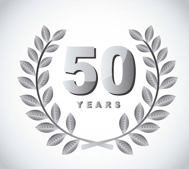 50 anos com coroa de louros sobre vetor de fundo cinza