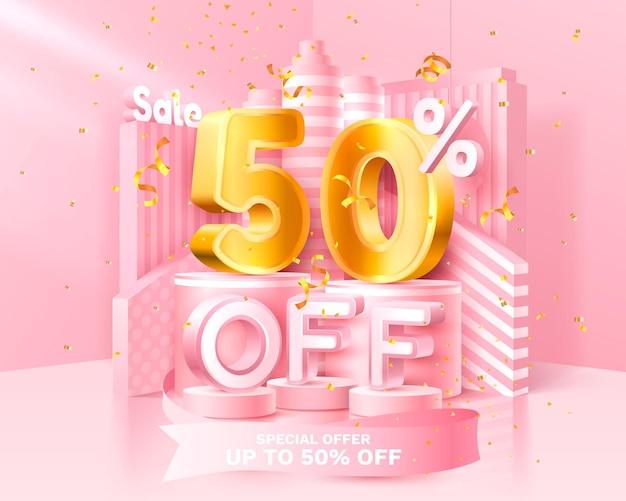 50% de desconto. desconto de composição criativa. símbolo de venda 3d com objetos decorativos, confete dourado, pódio e caixa de presente. banner de venda e cartaz. ilustração vetorial.