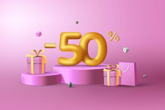 50% de desconto em números de desconto em ouro 3d no pódio com sacola de compras e caixa de presente