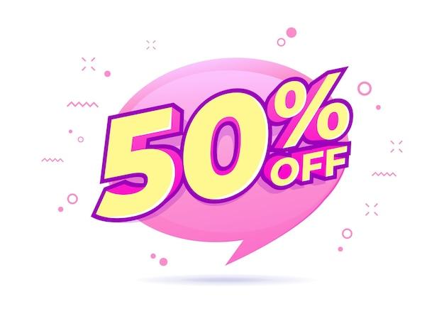 50% de desconto na etiqueta de venda. venda de ofertas especiais. o desconto com o preço é de 50%.