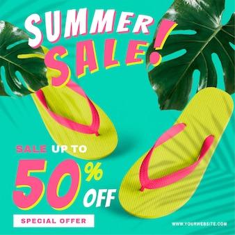 50% de desconto na promoção de vetor de venda de verão