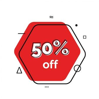 50% de desconto na rotulação no hexágono.