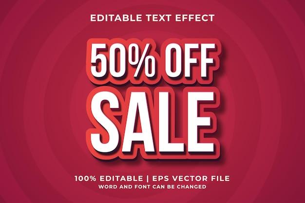 50% de desconto na venda 3d efeito de texto editável premium vector