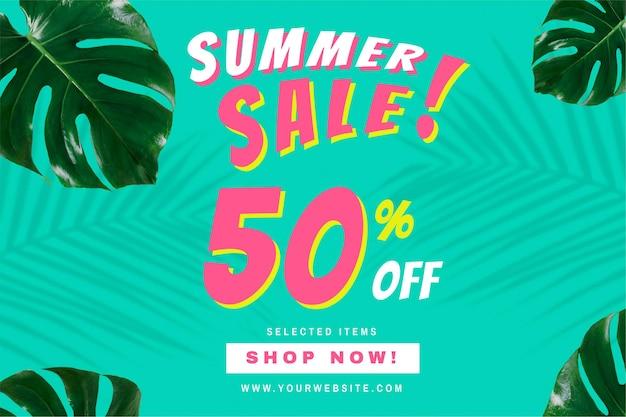 50% de desconto no anúncio de promoção de promoção de verão