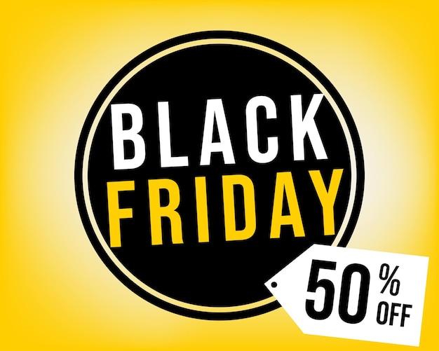 50% de desconto no balão da black friday em fundo preto e amarelo