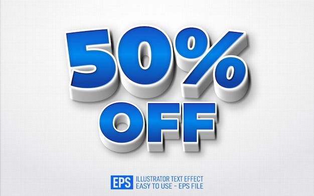50% de desconto no modelo de efeito de estilo editável de texto 3d