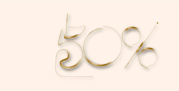50% off banner de desconto de venda de ouro. desconto na etiqueta de preço da oferta. ilustração em vetor etiqueta moderna.