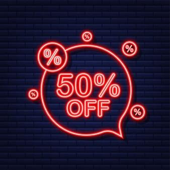 50 por cento de desconto em banner de venda. ícone de néon. desconto na etiqueta de preço da oferta. ilustração vetorial.