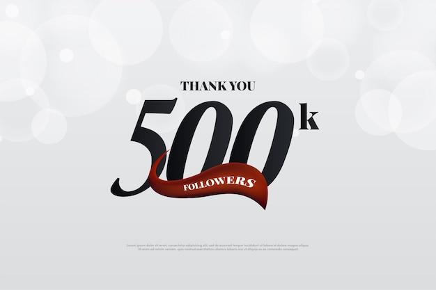 500 mil seguidores com imagem de fundo vermelho curvo