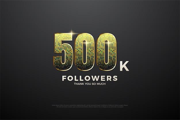 500 ollowers de fundo com números de glitter