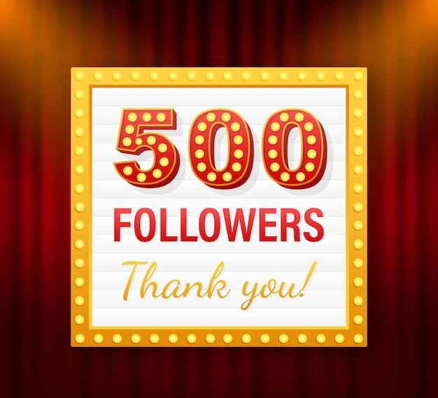 500 seguidores, obrigado, postagens em sites sociais. obrigado cartão de felicitações de seguidores. ilustração em vetor das ações.