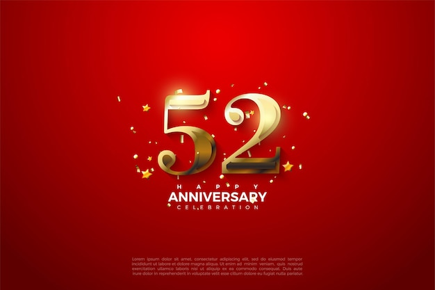 52º aniversário com luxuosos algarismos dourados sobre fundo vermelho