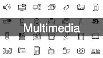 52 multimídia icon pack