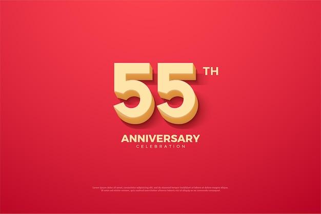 55º aniversário com números animados