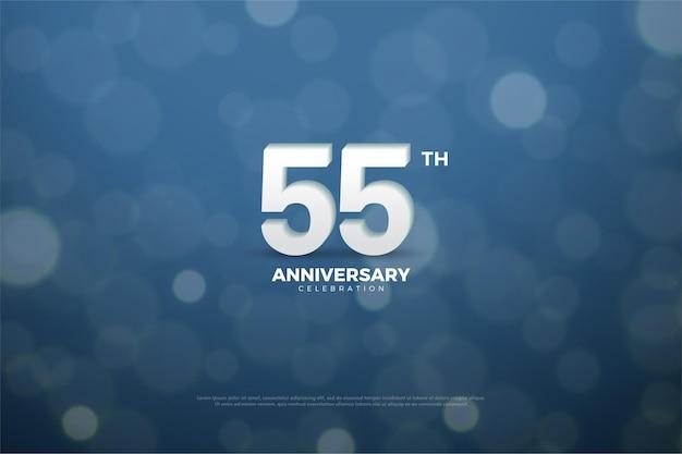 55º aniversário com números brancos em fundo azul marinho