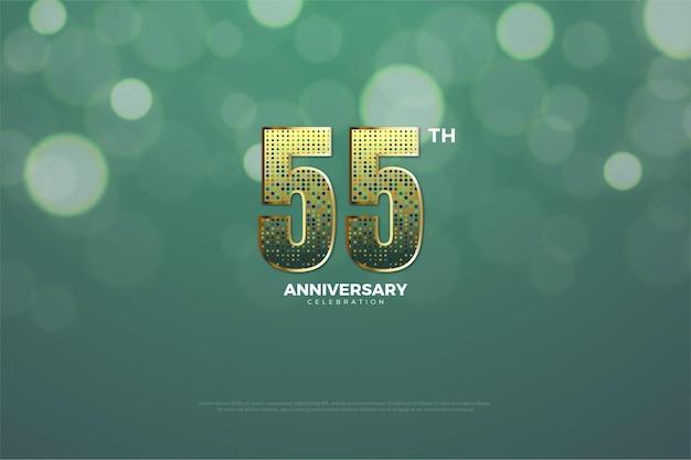 55º aniversário com números brilhantes