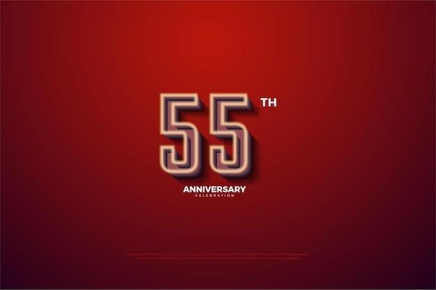 55º aniversário com números com bordas brancas suaves