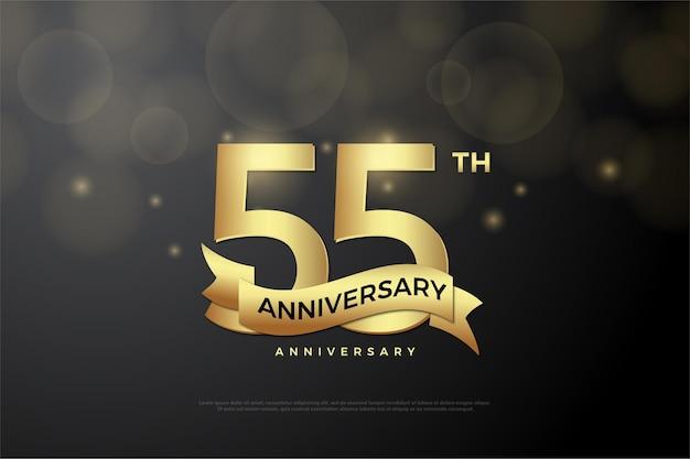 55º aniversário com números de glitter