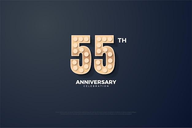 55º aniversário com números de textura rígida