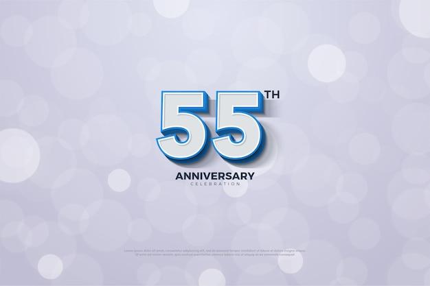 55º aniversário em números 3d com borda azul em negrito