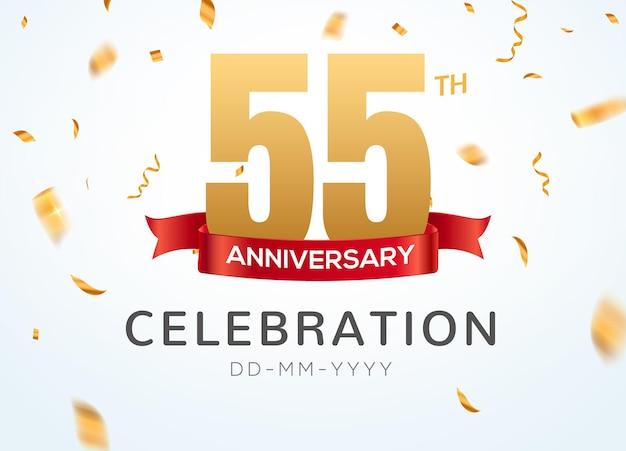 55 números de aniversário de ouro com confete dourado. modelo de festa de evento de 55º aniversário de celebração.